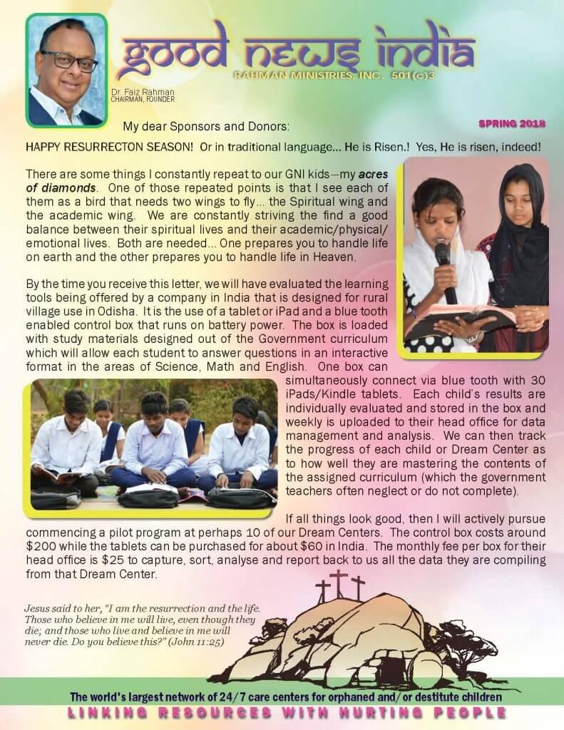 Good News India Spring 2018 Newsletter